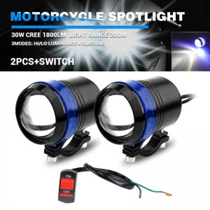 Black 12V 30W CREE U3 LED Laser Fog Headlight Spot Light Motorcycle Universal 2 pic
