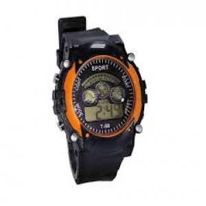 Rubber Strap Digital Watch For Kids-Black & Orange