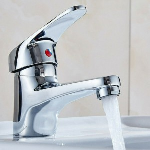 Bathroom Sink Chrome Finish Single Handle Basin Faucet Water Tap
