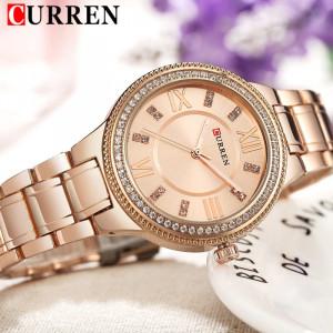 CURREN 9004 Top Luxury Brand Women Quartz Watch Crystal Design Ladies wristwatch