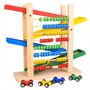 Educational Wooden Toy Car Tracks with Abacus