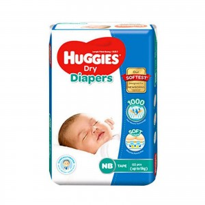 Huggies Dry Diapers Belt System Newborn up to 5kg, 64 pcs (Malaysia)