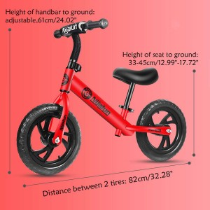 12 Inch 50Kg Balance Bike Sports Bike Suitable For Ages 2-6 Years (Assembly Required)