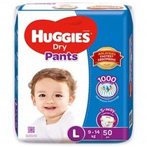 Huggies Dry Pants Pant System, Size-L, 9-14kg 50pcs (Malaysia)