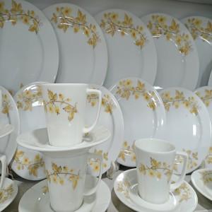 32 Pcs Exclusive Dinner Set Gift And Home Decoration - 6 Pcs Dinner Plate-6Pcs Half Plate - 6 Pcs Cup & 6 Pcs Saucer, 1 Pcs Curry Bowl,1Pcs Rice Dish,6Pcs Sweet Bowl,White.