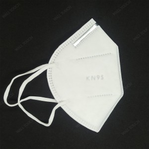 5 Layer 1 Pc/Poly Folding KN95 / KN-95 Protective Mask with Steel Nose Clip- White.